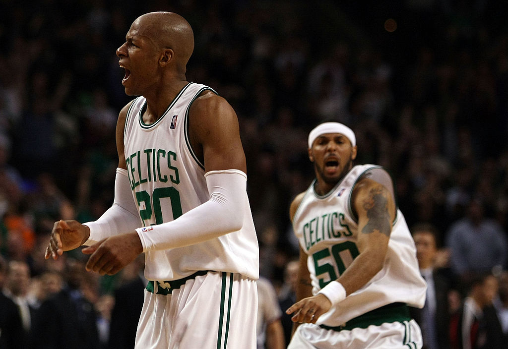 Ray Allen and Eddie House of the Boston Celtics celebrate the win over the Chicago Bulls in the 2009 Eastern Conference Quarterfinals.