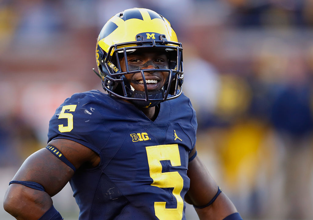 Jabrill Peppers of the Michigan Wolverines looks on while playing the Illinois Fighting Illini.