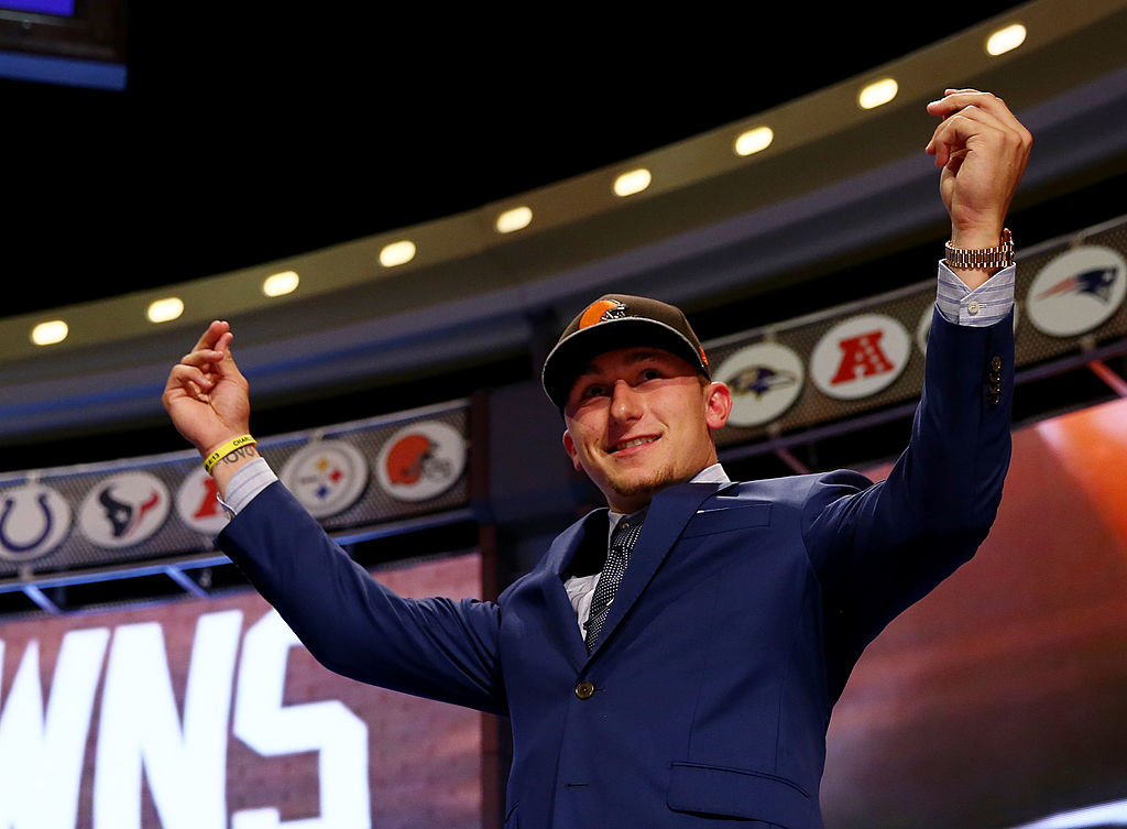 Johnny Manziel takes the stage after he was picked No. 22 overall by the Cleveland Browns during the first round of the 2014 NFL Draft.