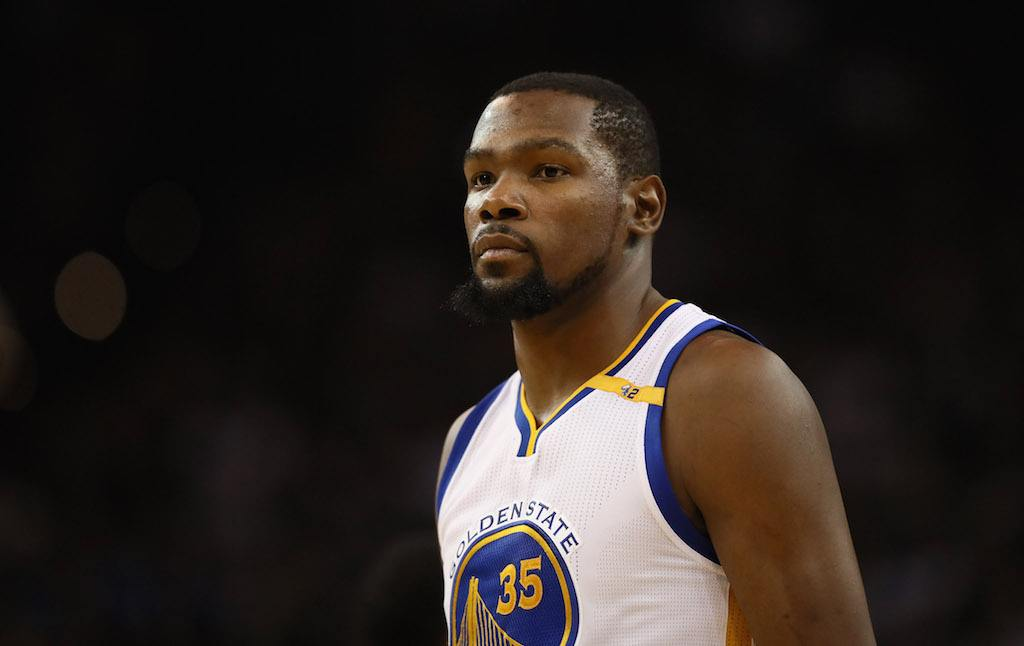 Kevin Durant looks on during the game.