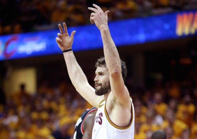 Kevin Love gets the crowd into it.