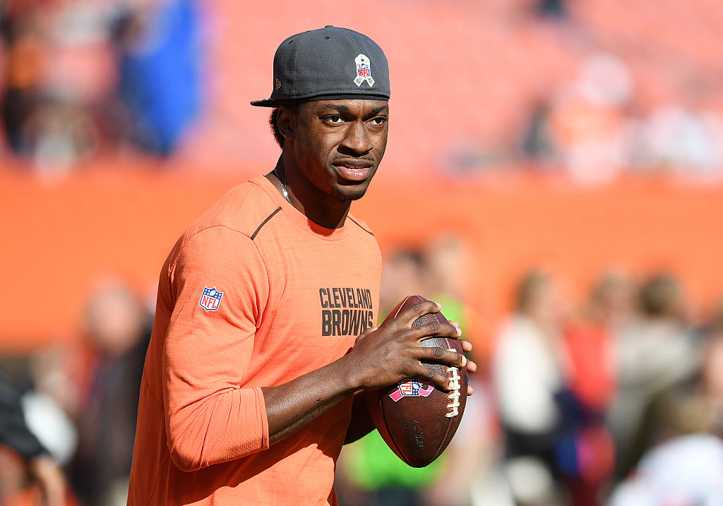 Robert Griffin III warms up before a game.