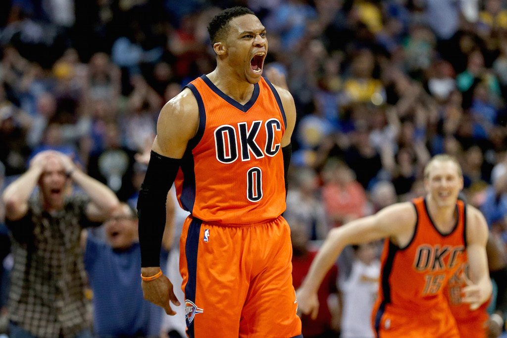 Russell Westbrook celebrates hitting a game-winning shot.