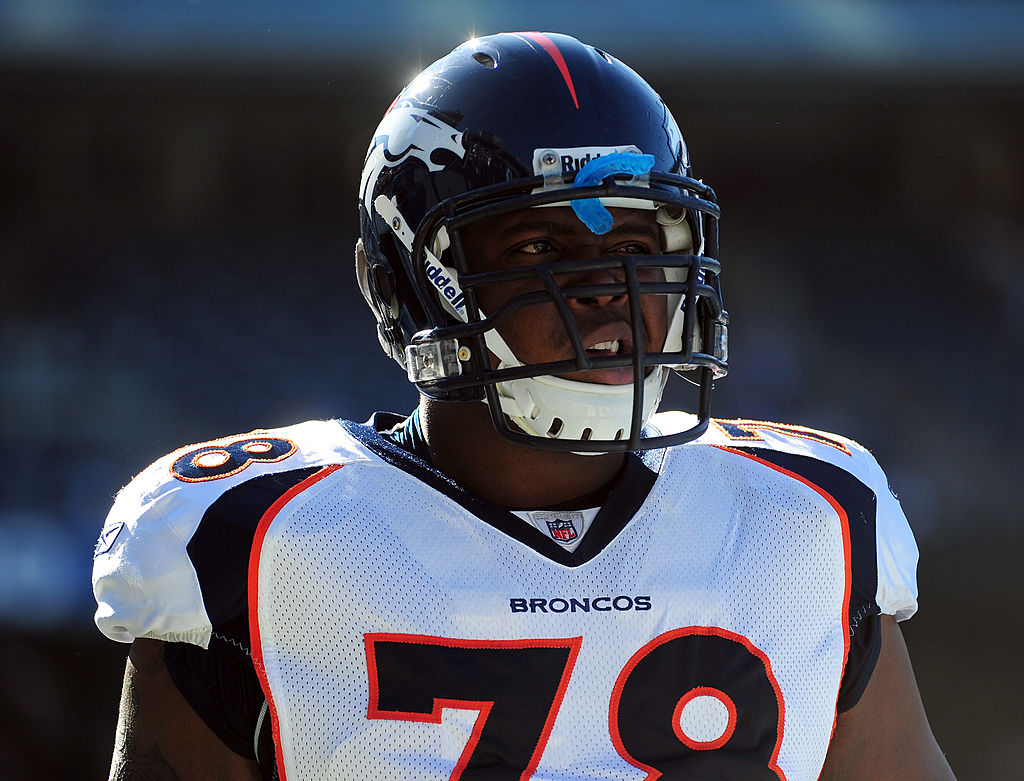 Ryan Clady of the Denver Broncos warms up before a game.