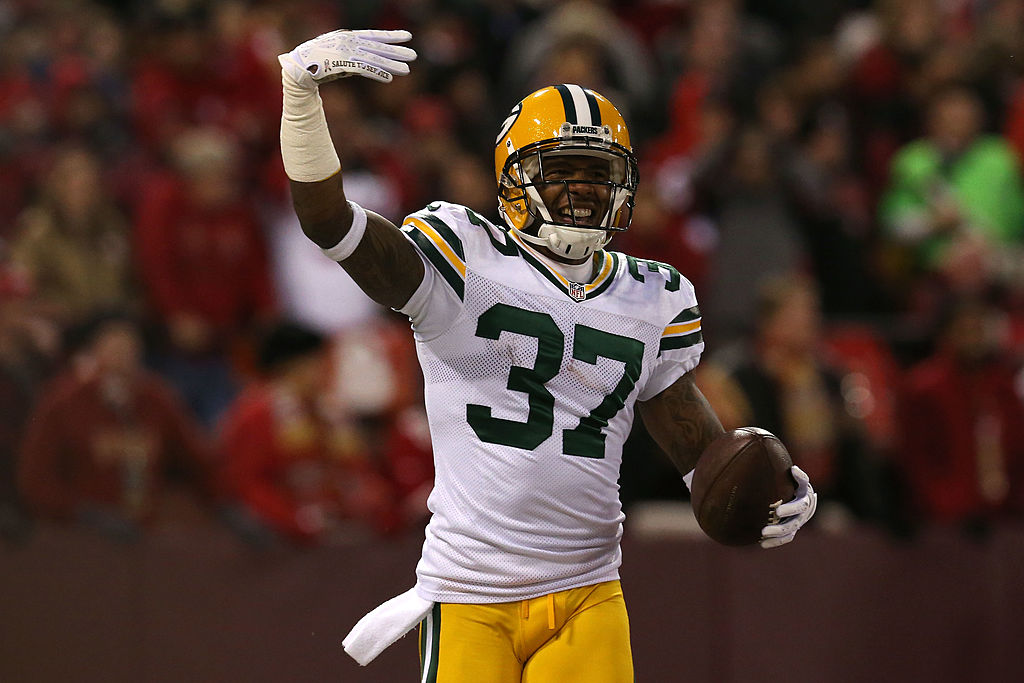 Cornerback Sam Shields of the Green Bay Packers celebrates after scoring a touchdown.