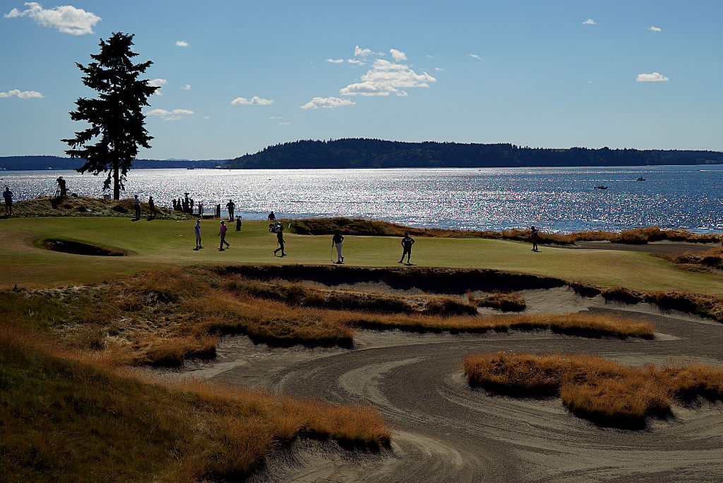 A general view of the 15th hole during the second round of 115th U.S. Open Championship at Chambers Bay