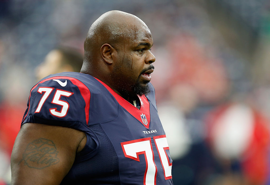 A sweaty Vince Wilfork of the Houston Texans looks on during a game.
