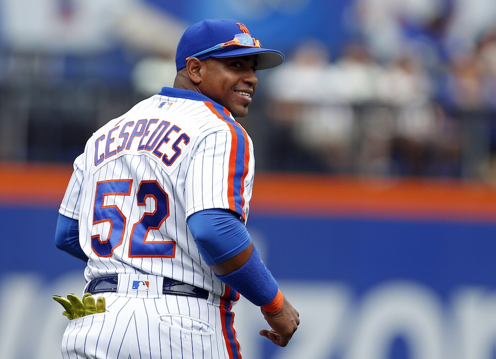 Yoenis Cespedes reacts after making a catch.