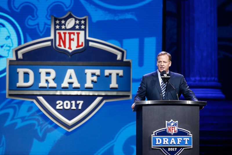 NFL Commissioner Roger Goddell announces a pick during the 2017 NFL Draft.