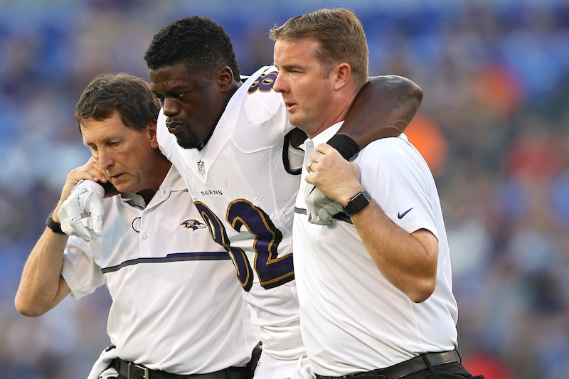 Benjamin Watson gets helped off the field after suffering an injury in 2016.