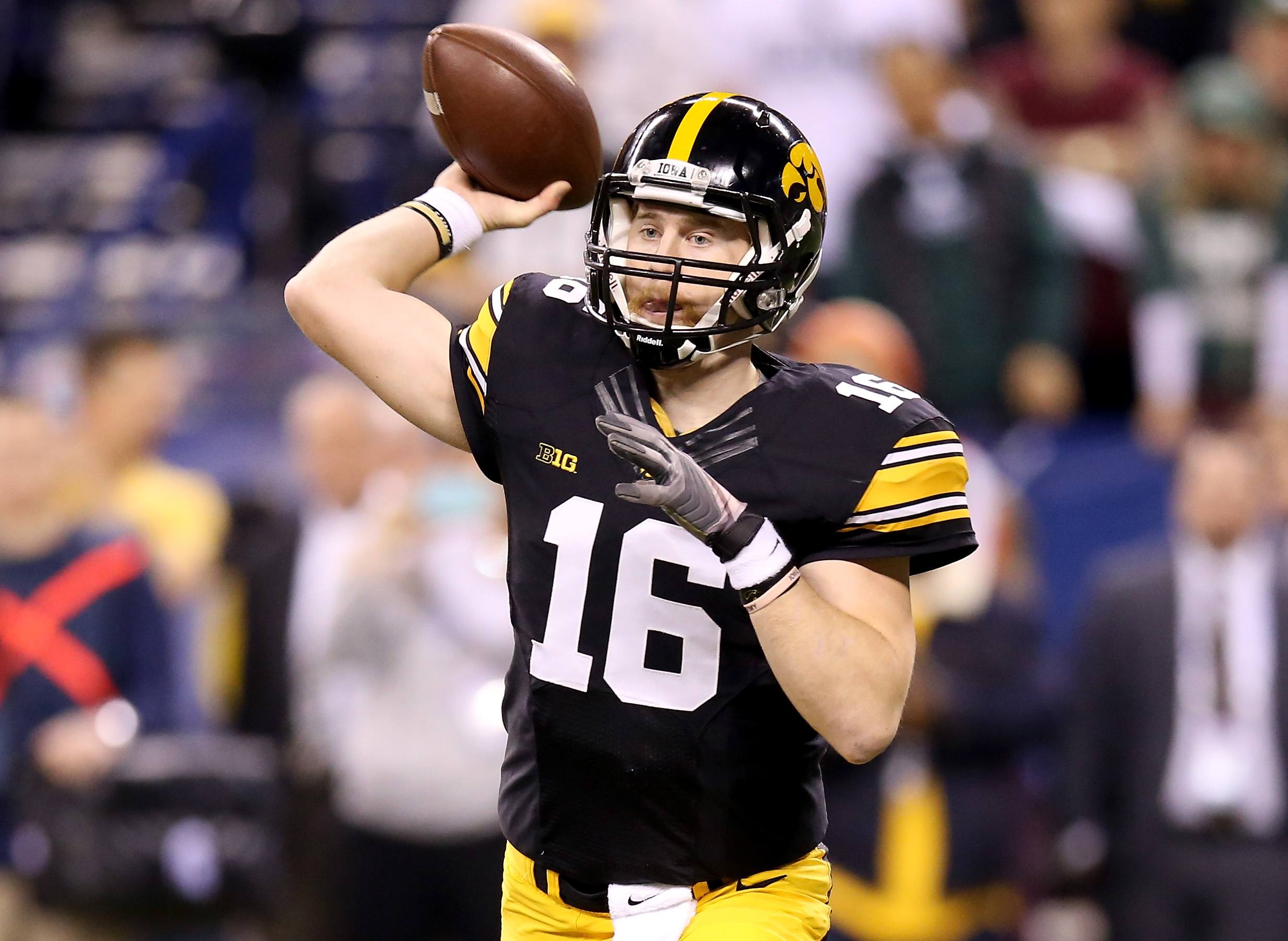 C.J. Beathard attempts a pass during a game in 2016.