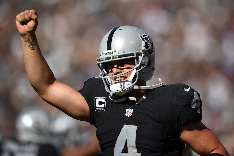 Derek Carr of the Oakland Raiders celebrates after a two-yard touchdown pass.