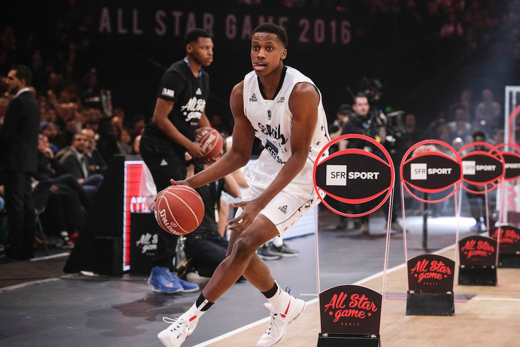 Frank Ntilikina participates in a Skills Challenge.