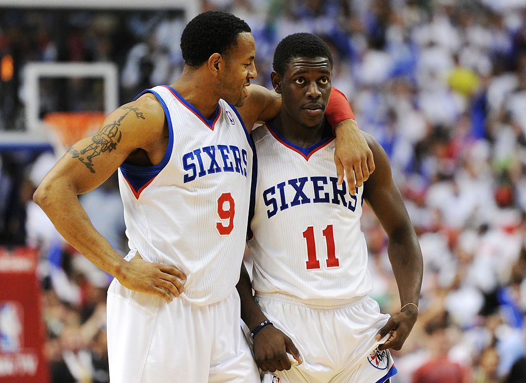 The 76ers celebrate a win.