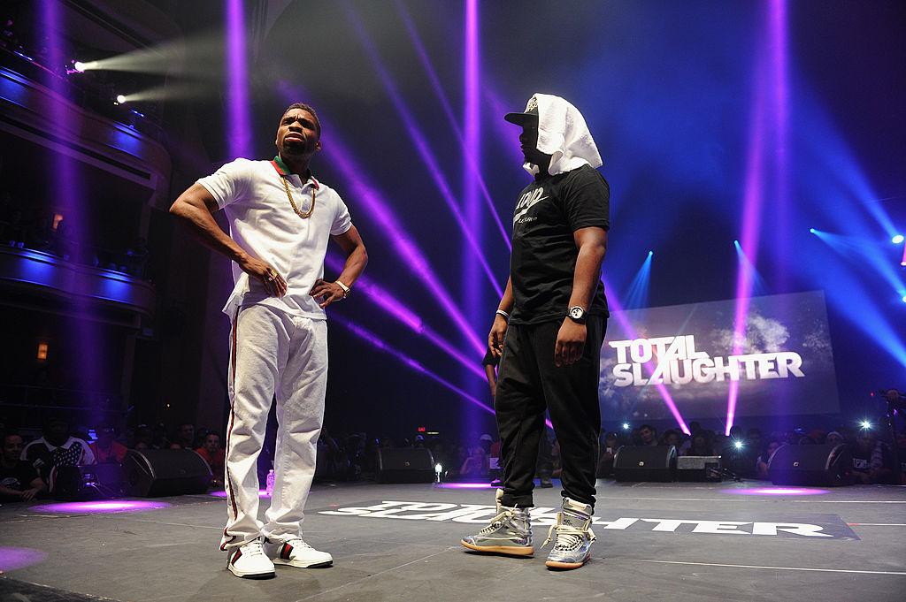 Some guys rap battle.