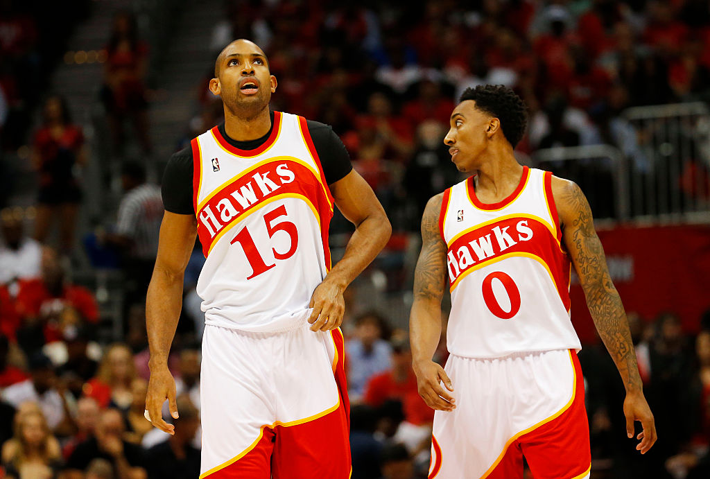 Jeff Teague and Al Horford of the Atlanta Hawks take on the Cleveland Cavaliers in the 2015 Eastern Conference Finals.