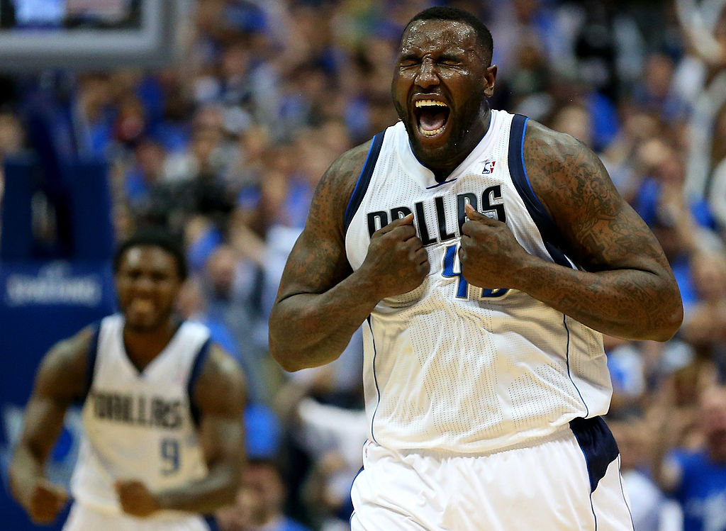 DeJuan Blair of the Dallas Mavericks reacts during play against the San Antonio Spurs.