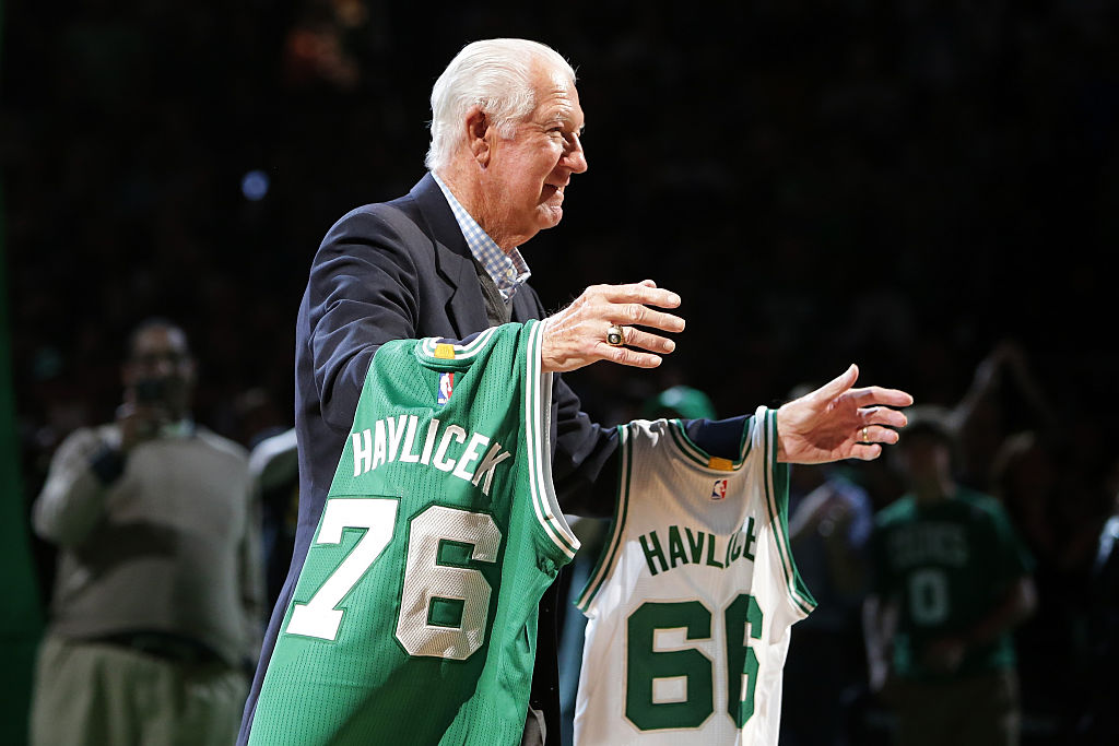 The Celtics celebrate John Havlicek during a halftime ceremony.