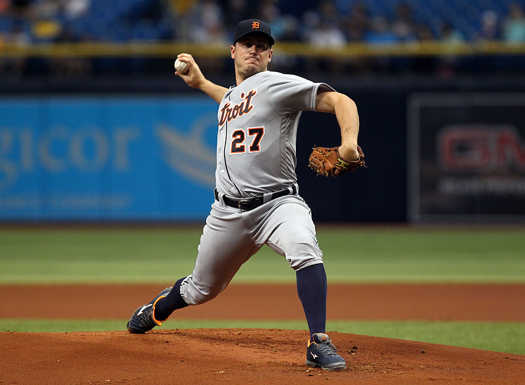 Jordan Zimmermann pitches for the Detroit Tigers.