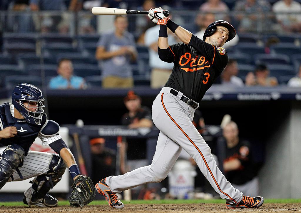 Ryan Flaherty swings and misses.