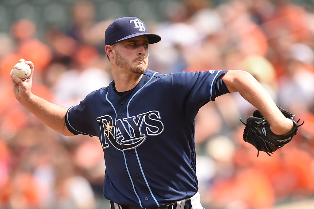 Jake Odorizzi pitches for the Tampa Bay Rays.