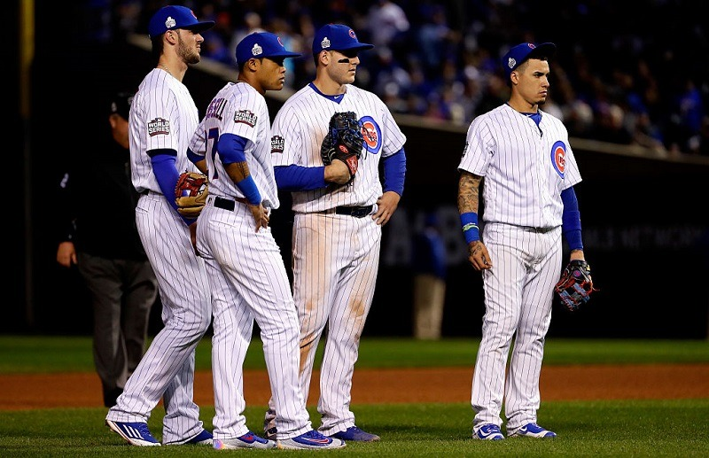 Cub infielders wait during Game 4 of the 2016 World Series.