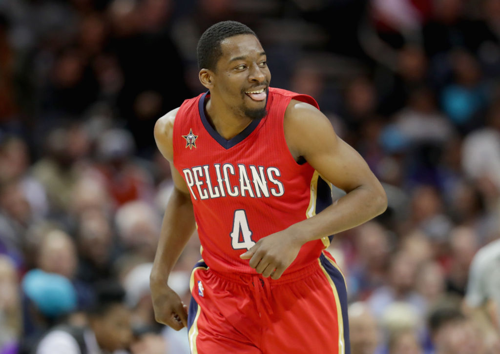 Jordan Crawford of the New Orleans Pelicans reacts after a basket against the Charlotte Hornets.