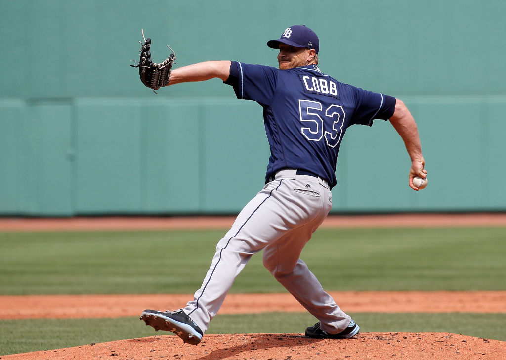 Alex Cobb pitches during Spring Training.