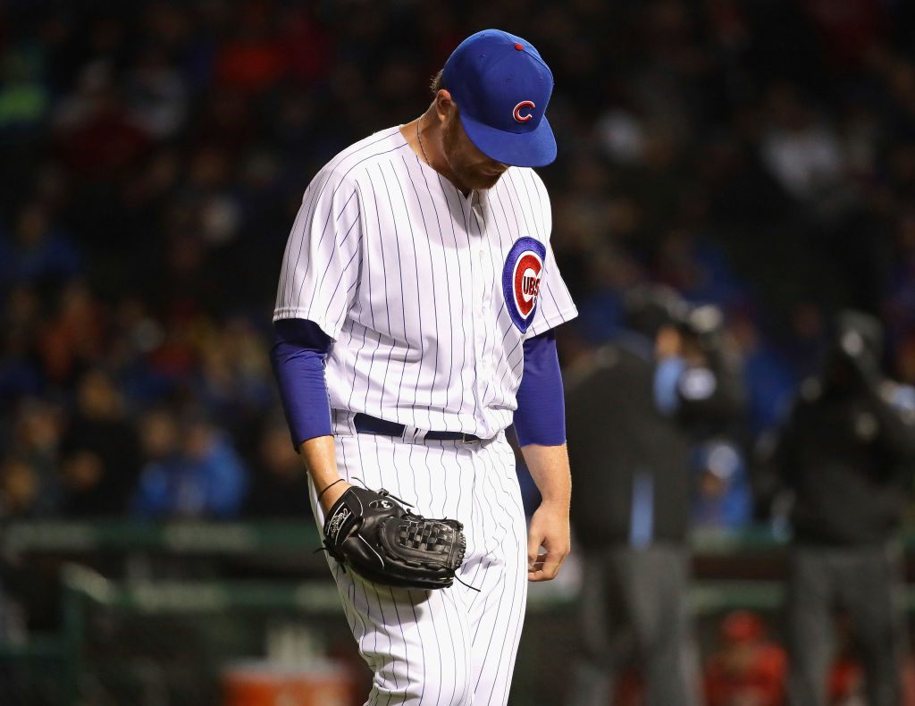 Brett Anderson of the Chicago Cubs looks dejected.