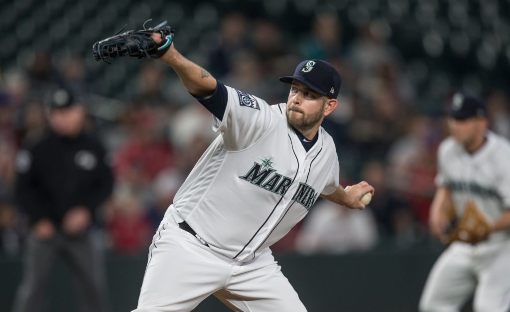 Starter James Paxton of the Seattle Mariners delivers a pitch against the Los Angeles Angels.
