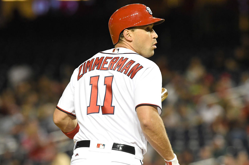 Ryan Zimmerman watches the action while on base.