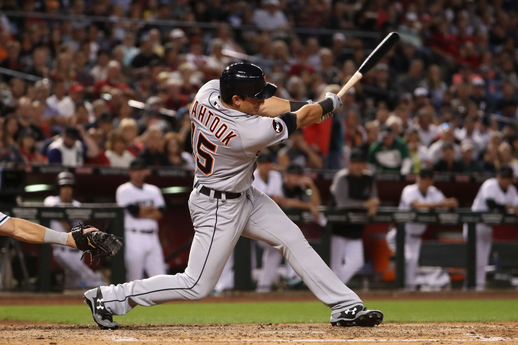Mikie Mahtook swings at a bad pitch.