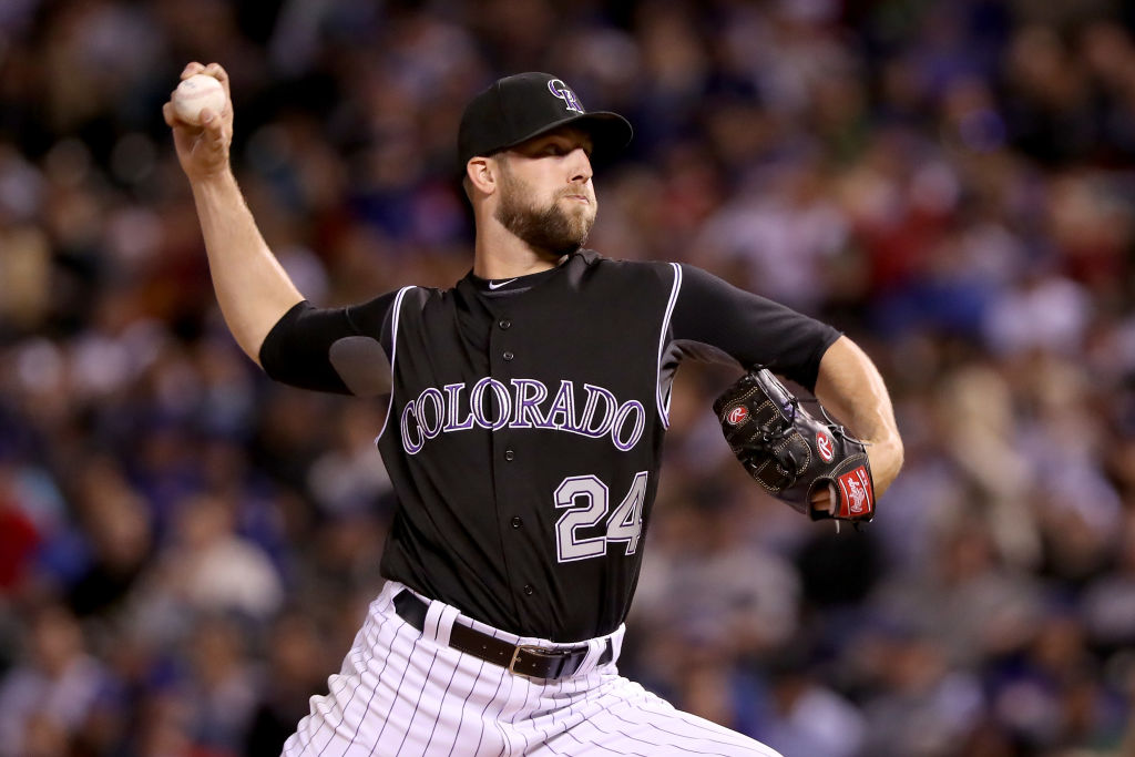 Jordan Lyles pitches.