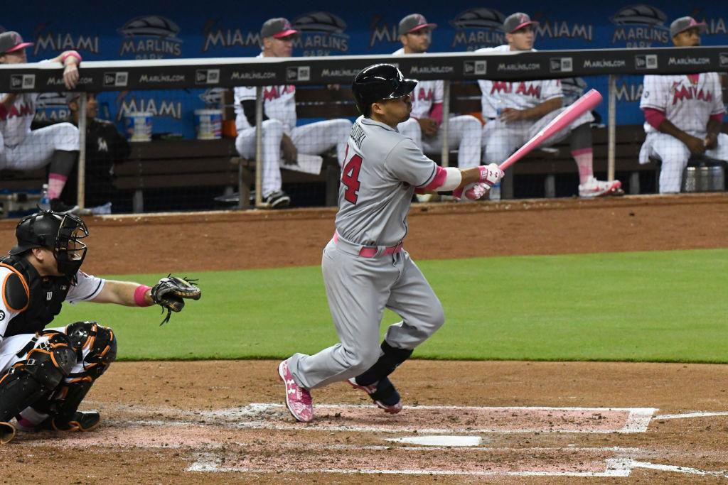 A.J. Ellis attempts to hit.