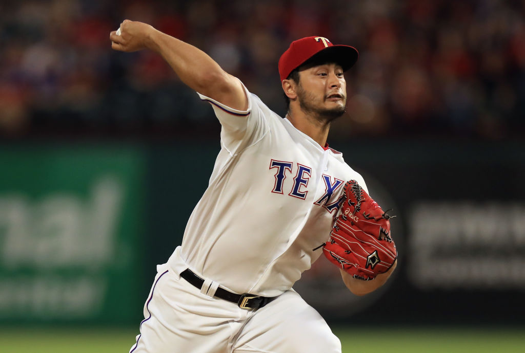 Yu Darvish pitches for the Texas Rangers.