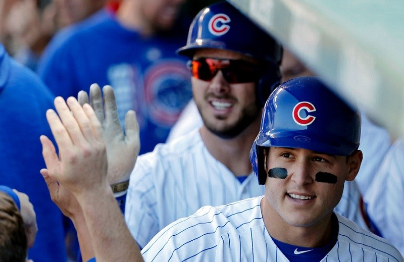 Shot of Chicago Cubs Anthony Rizzo and Kris Bryant in the dugout