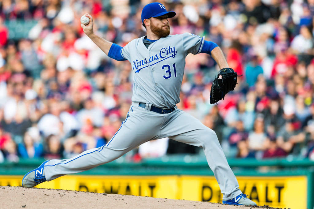 Ian Kennedy pitches for the Kansas City Royals.