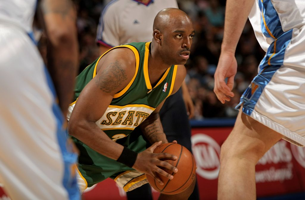 Damien Wilkins of the Seattle SuperSonics controls the ball against the Denver Nuggets.