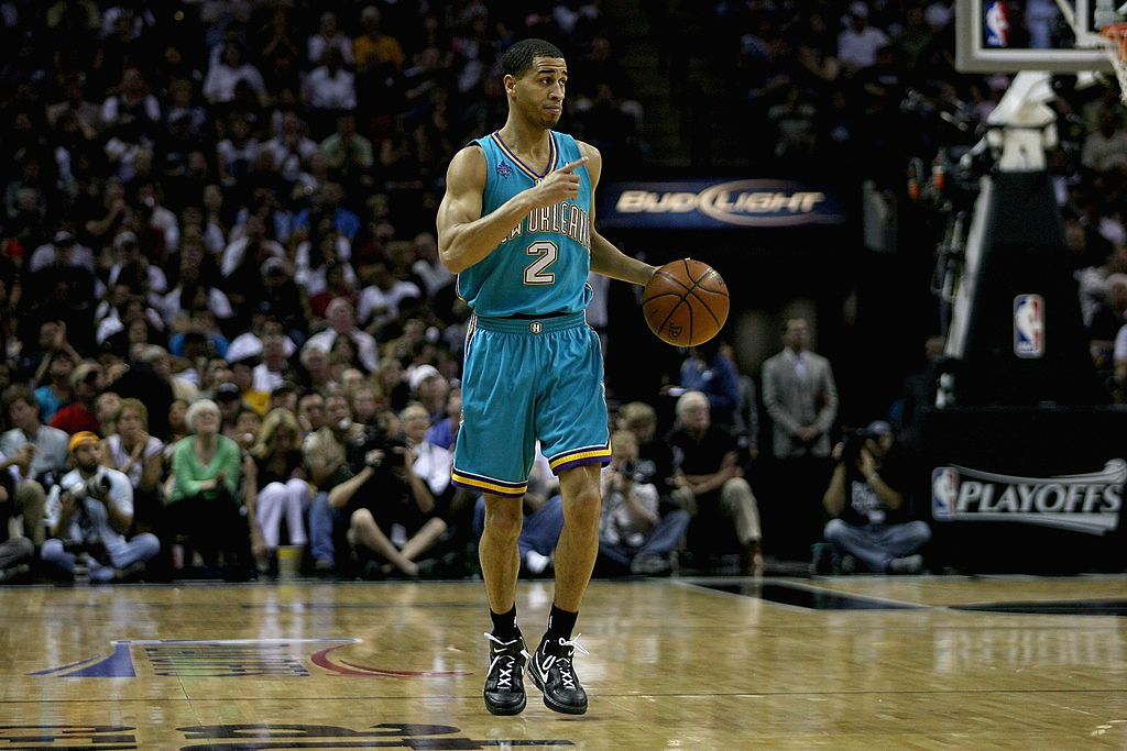 Jannero Pargo of the New Orleans Hornets brings the ball upcourt.