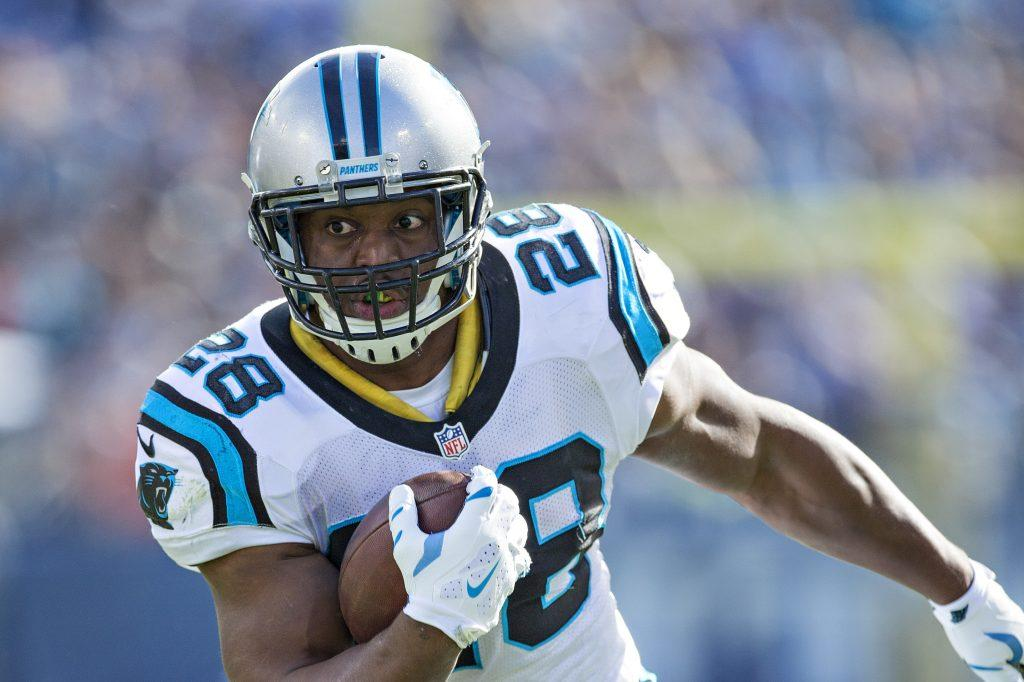 NASHVILLE, TN - NOVEMBER 15: Jonathan Stewart #28 of the Carolina Panthers runs the ball during a game against the Tennessee Titans at Nissan Stadium on November 15, 2015 in Nashville, Tennessee. (Photo by Wesley Hitt/Getty Images)