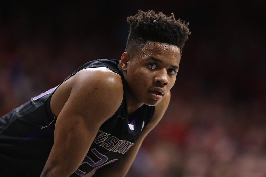 Markelle Fultz looks on during a game against Arizona.