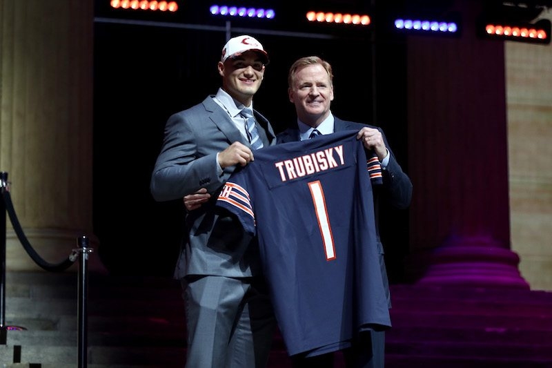Mitchell Trubisky stands with NFL Commissioner Roger Goodell after he was picked by the Chicago Bears in the 2017 NFL Draft.