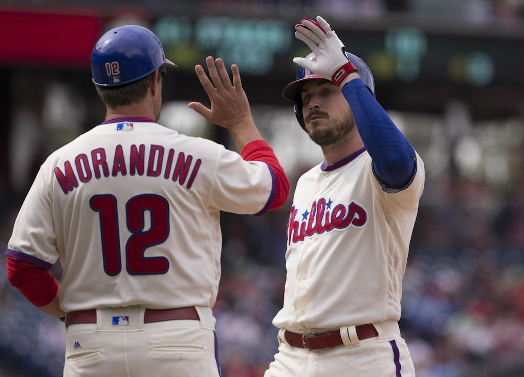 Philadelphia teammates high five.