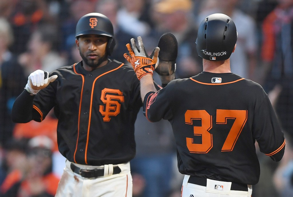 The San Francisco Giants high five.