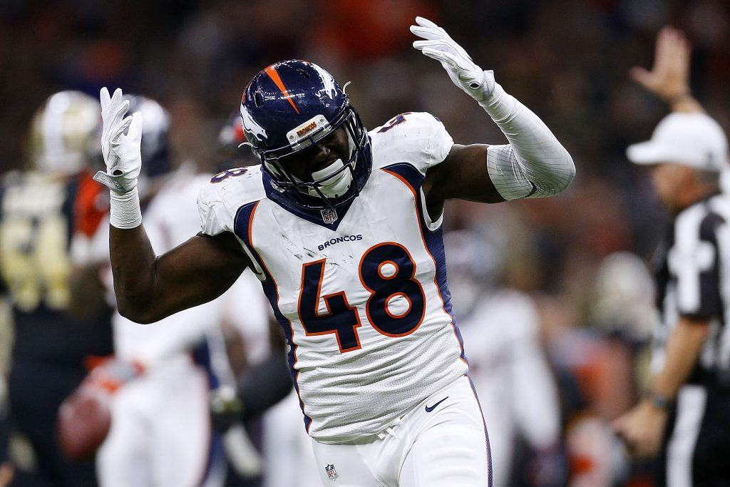 Shaquil Barrett celebrates a Denver Broncos' win over the New Orleans Saints.