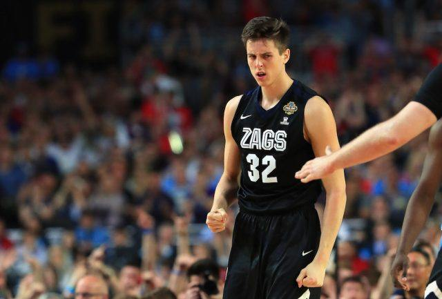 Zach Collins reacts during the title game.