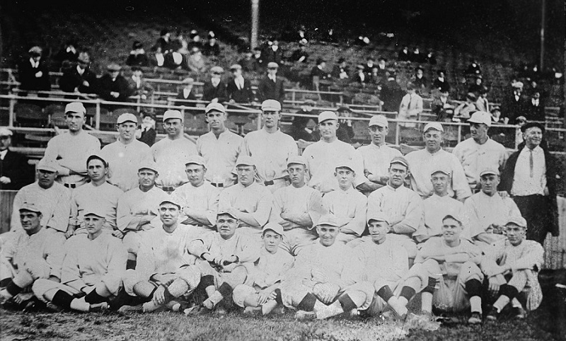 Team photo of 1916 Boston Red Sox, who won the World Series in five games over the Brooklyn Robins, becoming one of the greatest MLB dynasties.