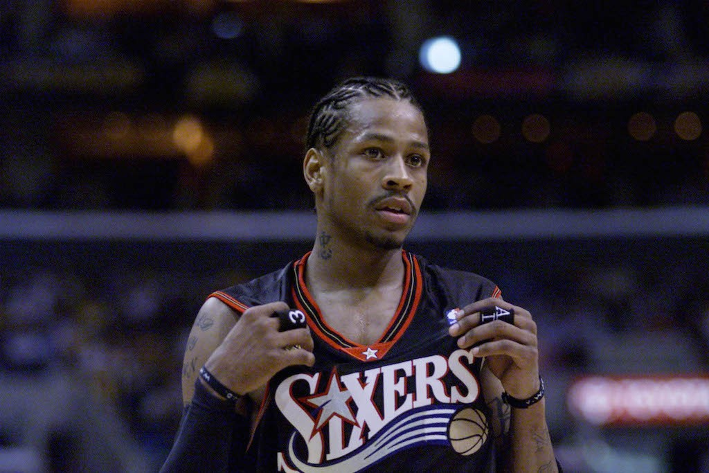 Allen Iverson looks on during Game 1 of the 2001 NBA Finals.