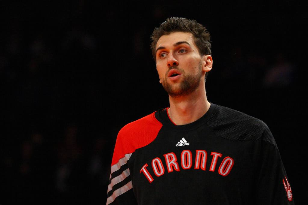 Andrea Bargnani warms up before the game.
