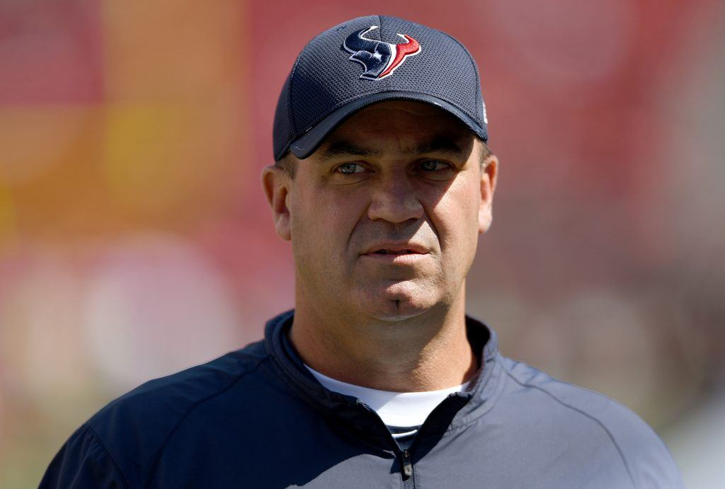 Head Coach Bill O'Brien of the Houston Texans looks on during a pregame warmup.